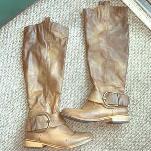 Washed brown knee high boots with buckle